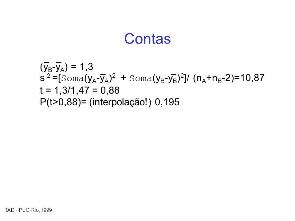 Contas (yB-yA) = 1,3. s 2 =[Soma(yA-yA)2 + Soma(yB-yB)2]/ (nA+nB-2)=10,87.